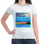 Waikiki Hawaii Sunsets Jr. Ringer T-Shirt