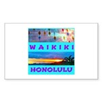 Waikiki Hawaii Sunsets Sticker (Rectangle)
