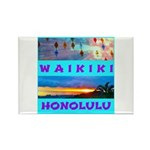 Waikiki Hawaii Sunsets Rectangle Magnet (100 pack)