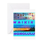 Waikiki Hawaii Sunsets Greeting Card