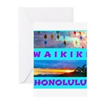 Waikiki Hawaii Sunsets Greeting Cards (Pk of 10)