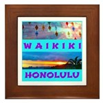 Waikiki Hawaii Sunsets Framed Tile