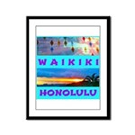 Waikiki Hawaii Sunsets Framed Panel Print