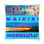 Waikiki Hawaii Sunsets Woven Throw Pillow
