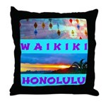 Waikiki Hawaii Sunsets Throw Pillow