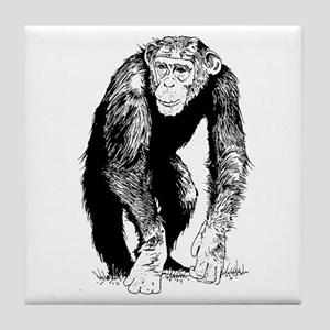 Chimpanzee sketch Tile Coaster