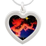 Chinese Lucky Dragon Silver Heart Necklace