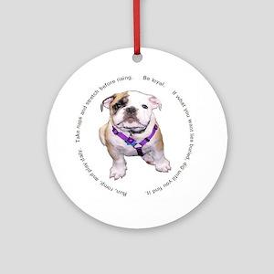 Loyal Bulldog Puppy Ornament (Round)