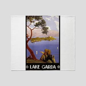 Antique 1924 Italy Lake Garda Travel Poster Throw