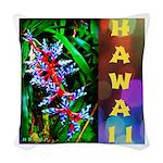 Hawaiian FireCracker Heliconia Woven Throw Pillow