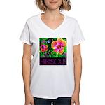 Hawaiian Hibiscus Cupid Shirt Women's V-Neck T-Shi