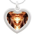 Hawaiian Shade Palm Silver Heart Necklace