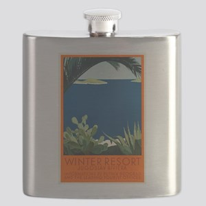 Antique Yugoslav Riviera Travel Poster Flask