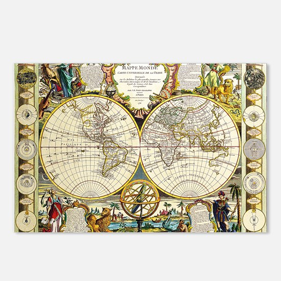 World Map 1755 Postcards (Package of 8)