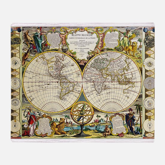 World Map 1755 Throw Blanket