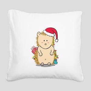 Cute Hedgehog with Christmas Hat Cartoon Square Ca