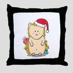Cute Hedgehog with Christmas Hat Cartoon Throw Pil