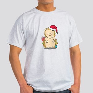 Cute Hedgehog with Christmas Hat Cartoon T-Shirt