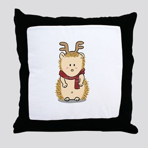 Cute Hedgehog with Reindeer Hair band Throw Pillow