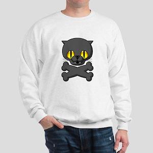 Scary Black Cat Sweatshirt (White)