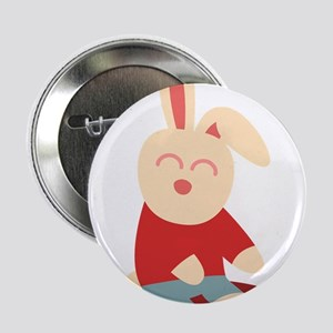 """Pink bunny sitting at corner 2.25"""" Button"""