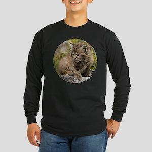 Bobcat Kitten Long Sleeve Dark T-Shirt