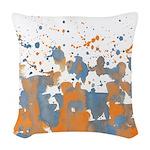 Blue Orange burst Woven Throw Pillow