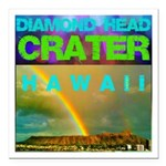 Damond Head Crater Hawaii Square Car Magnet 3