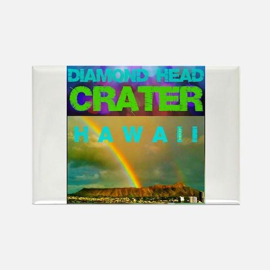 Damond Head Crater Hawaii Rectangle Magnet