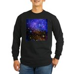 Galaxy Space Scene Graphic Long Sleeve Dark T-Shir