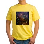Galaxy Space Scene Graphic Yellow T-Shirt
