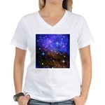Galaxy Space Scene Graphic Women's V-Neck T-Shirt