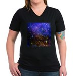 Galaxy Space Scene Graphic Women's V-Neck Dark T-S