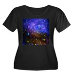 Galaxy Space Scene Graphic Women's Plus Size Scoop