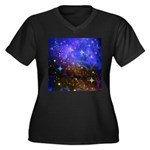 Galaxy Space Scene Graphic Women's Plus Size V-Nec