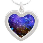 Galaxy Space Scene Graphic Silver Heart Necklace