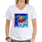 Fabulous Demented Diva Clown Women's V-Neck T-Shir