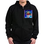 Fabulous Demented Diva Clown Zip Hoodie (dark)