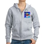 Fabulous Demented Diva Clown Women's Zip Hoodie