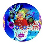 Fabulous Demented Diva Clown Round Car Magnet