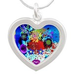 Fabulous Demented Diva Clown Silver Heart Necklace