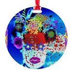 Fabulous Demented Diva Clown Round Ornament