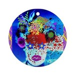 Fabulous Demented Diva Clown Ornament (Round)