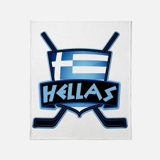 Greece Ice Hockey Shield Hellas Throw Blanket