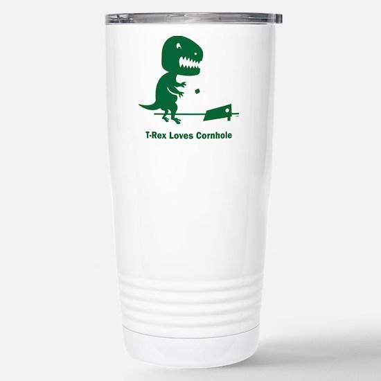 T-Rex Loves Cornhole Stainless Steel Travel Mug