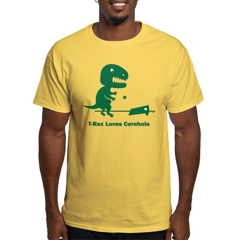 3a290f5a3f90 CafePress T Rex Loves Cornhole Light T Shirt 100% Cotton T-Shirt ...