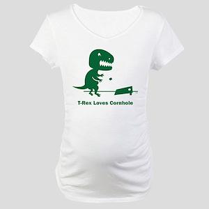 T-Rex Loves Cornhole Maternity T-Shirt