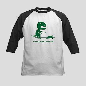 T-Rex Loves Cornhole Kids Baseball Jersey