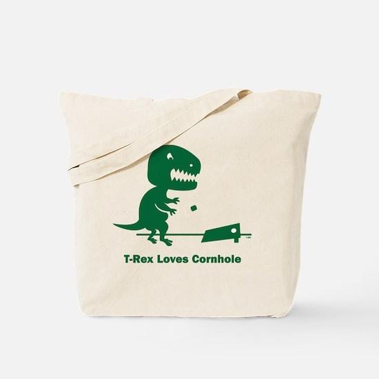 T-Rex Loves Cornhole Tote Bag