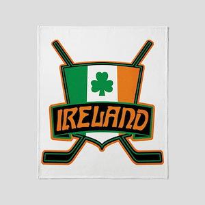 Ireland Irish Ice Hockey Shield Throw Blanket